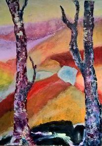 Acrylmalerei, Landschaft, Spachteltechnik, Malerei