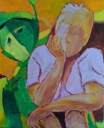 Grün, Gelb figürlich, Malerei,