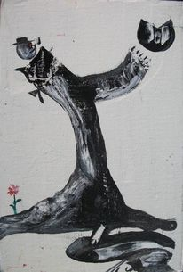 Schwarz, Mann pfeife, Malerei,