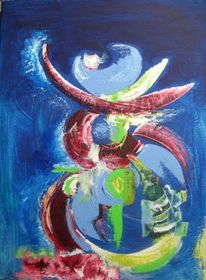 Rot, Blau, Hellblau, Malerei