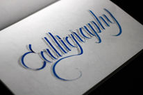 Kalligrafie, Pilot parallel pen, Bleistiftzeichnung, Blau