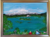 Acrylmalerei, Kapelle, Landschaft, Blau