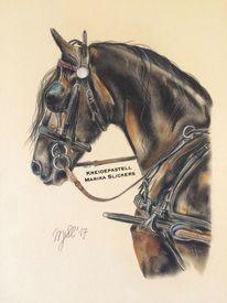 Kreide, Pferde, Pastellmalerei, Gemälde