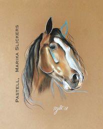 Liebe, Pferde, Pastellmalerei, Kutsche