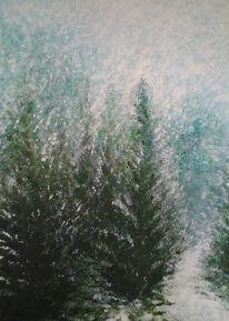 Wald, Weg, Schnee, Baum