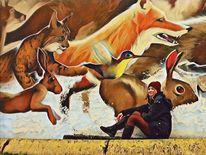 Menschen, Tiere, Graffiti, Pinnwand