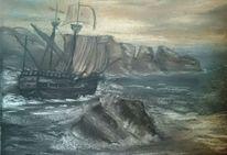 Schiff, Meer, Wellen, Kreide