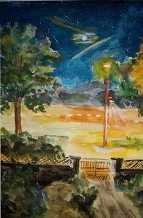 Strassenlampe, Blau, Abend, Aquarell