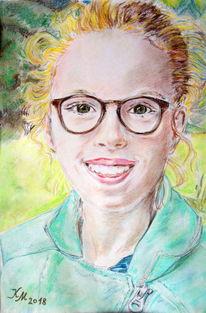Enkelin, Pastellmalerei, Fröhlichkeit, Zeichnungen