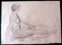 Am strand, Bleistiftzeichnung, Junge frau, Zeichnungen