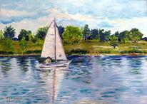 Natur, Boot, See, Malerei