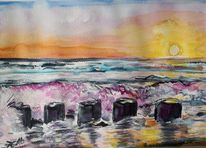 Sonnenuntergang, Farben, Welle, Aquarell