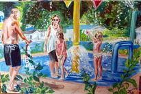 Spielplatz bad sommer, Malerei, Bad