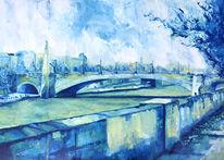 Gemälde, Stadt, Figur, Stadtlandschaft