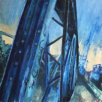 Gemälde, Stadt, Blau, Freiburg