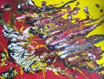 Abstrakt, Gelb, Rot schwarz, Acrylmalerei