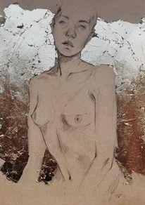 Skizze, Zeichnung, Selbstportrait, Gold
