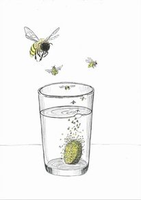 Brausetablette, Blubbern, Biene, Glas