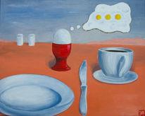 Frühstück, Denkblase, Ei, Spiegelei