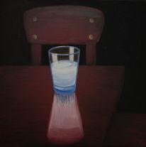 Dunkel, Milchglas, Lichtquelle, Malerei