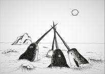 Narwal, Ritual, Wal, Zeichnungen