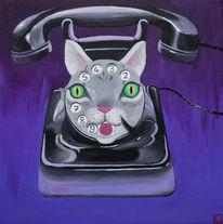 Telefon, Wählscheibe, Katze, Schnurren