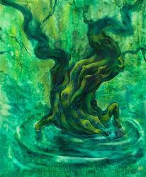 Figural, Malerei, Grün, Surreal