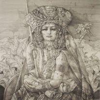 Tracht, Zeichnung, Frau, Palmen