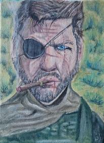Typ, Zigarette, Augen, Malerei