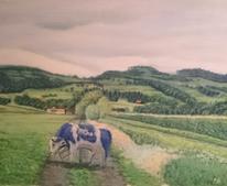 Landschaft, Wald, Wiese, Malerei