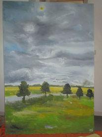 Wolken, Wiese, Allee, Malerei