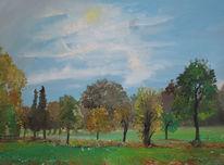 Steinweg, Sonnentag, Herbst, Malerei
