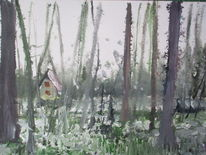 Abstrakt, Haus, Wald, Malerei