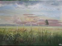 Kornfeld, Abendhimmel, Wolken, Schwalbe