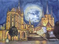 Dom, Stadt, Erfurt, Aquarell