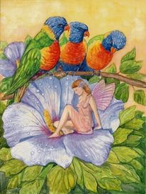 Blumen, Loris, Elfen, Aquarellmalerei