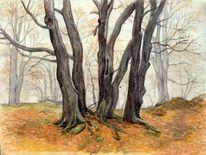 Herbst, Aquarellmalerei, Wald, Nebel