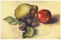 Obst, Aquarellmalerei, Stillleben, Aquarell