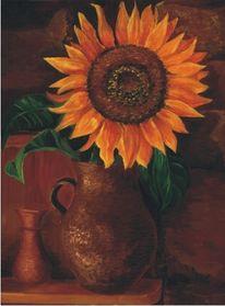Sonnenblumen, Vase, Ölmalerei, Malerei