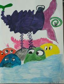 Vogel, Stein, Wasser, Malerei
