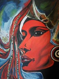 Afrika, Wild, Farben, Malerei