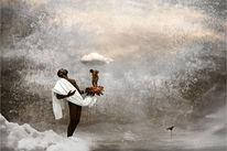 Frau, Wolken, Surreal, Blumen