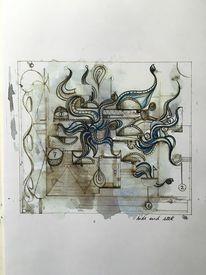 Aquarellmalerei, Schwarz, Tuschmalerei, Skizze