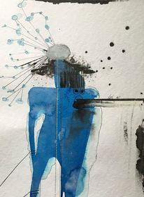 Festhalten, Skizze, Aquarellmalerei, Befreien