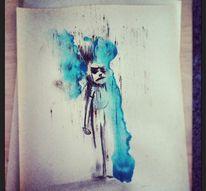 Kohlezeichnung, Aquarellmalerei, Wutmensch, Wut