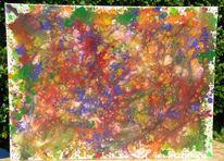 Malerei, Blau, Rot schwarz, Abstrakt