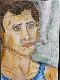 Portrait, Bleistiftzeichnung, Mann, Zeichnung