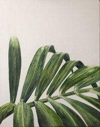 Ölmalerei, Schnitt, Palmblatt, Ausschnitt