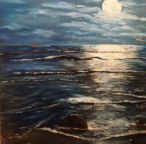 Nacht, Meer, Wolken, Himmel
