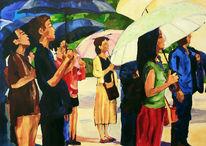 Menschen, Schirm, Malerei, August